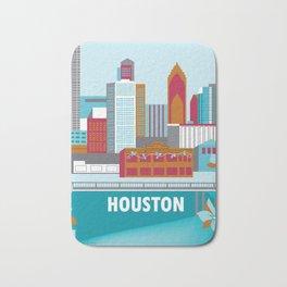 Houston, Texas - Skyline Illustration by Loose Petals Bath Mat