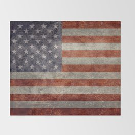 USA flag - Retro vintage Banner Throw Blanket