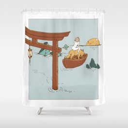 They Followed the Moon Together - Coyote Wolf & Nude Woman on Ocean in Boat Shower Curtain