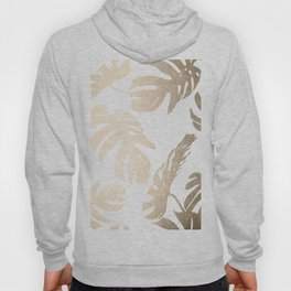 Simply Tropical Palm Leaves in White Gold Sands Hoody