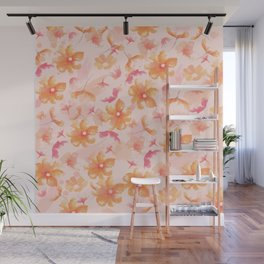 Pink Coral Floral Wall Mural