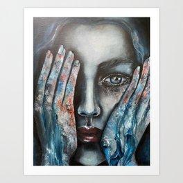 Oil painting on canvas blue women Art Print