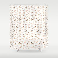 ducks Shower Curtains featuring Wild Ducks by Marina Eiro