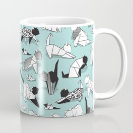 Origami kitten friends // aqua background paper cats Coffee Mug
