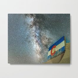 Colorado Living // Milky Way Galaxy Long Exposure Photograph Incredible Starry Night and State Flag Metal Print