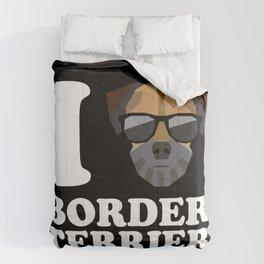I Love Border Terrier modern v2 Comforters