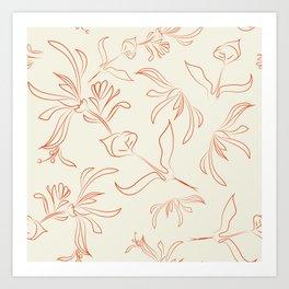 Orange leaves on cream ground Art Print