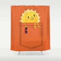 sunshine Shower Curtains featuring Pocketful of sunshine by Picomodi