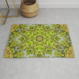 Fantastic Green Forest Mandala Rug
