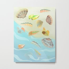 Sea shells - Aquamarine Metal Print