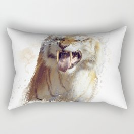 sabertooth tiger portrait watercolor Rectangular Pillow