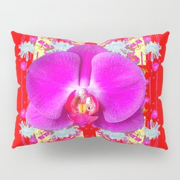 RED COLOR PURPLE BUTTERFLY ORCHID WHITE MUMS Flowers Pillow Sham