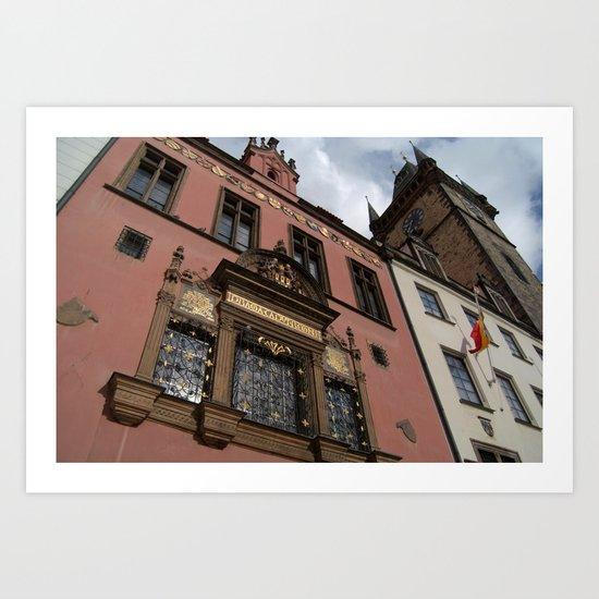 Buildings and Astronomical Clock, Prague Art Print
