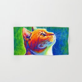 Rainbow Cat Portrait Hand & Bath Towel