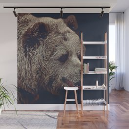 kodiak brown bear vector art dark Wall Mural