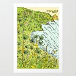 beach lookout of paradise in raglan new zealand // retro surf art by surfy birdy Art Print
