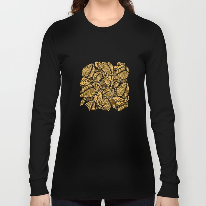 Summer Leaves Gold Long Sleeve T-shirt