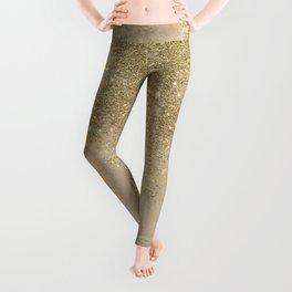 Girly trendy gold glitter ivory marble pattern Leggings