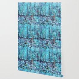 Van Gogh Trees & Underwood Turquoise & Amethyst Wallpaper