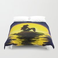 the little mermaid Duvet Covers featuring Little Mermaid by DisPrints