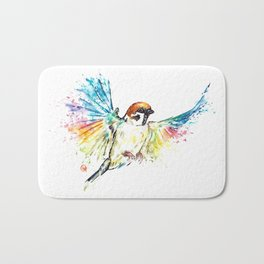 Colorful Sparrow Watercolor Painting Bath Mat
