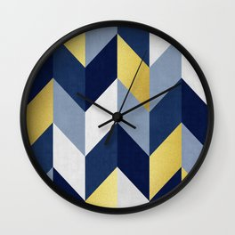 Blue and gold Lozenges Wall Clock