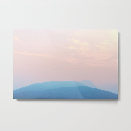 Pastel sunset over the mountains Metal Print
