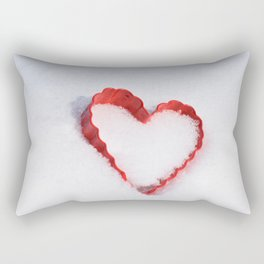 Cold heart-Red heart in fresh white snow Rectangular Pillow