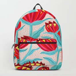 Bold Protea Flower Pattern - Red Yellow Green Backpack