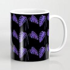 Indigo Monstera Leaf Watercolor on Black Mug