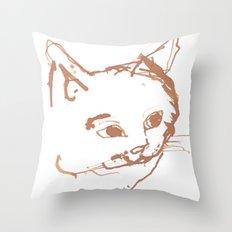 Pen and Ink Cat Face Print Throw Pillow