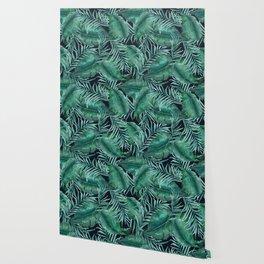 Modern Tropical Watercolor Leaves Wallpaper