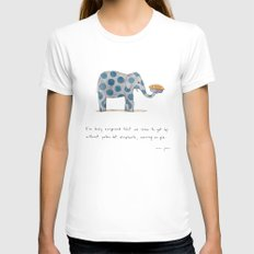 polka dot elephants serving us pie LARGE White Womens Fitted Tee