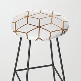 White and Gold - Geometric Cube Design Bar Stool