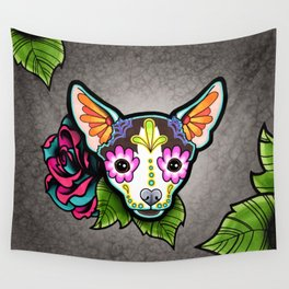 Chihuahua in Moo - Day of the Dead Sugar Skull Dog Wall Tapestry
