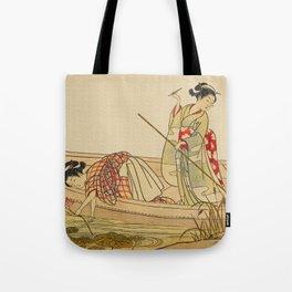 Women Gathering Lotus Blossoms Tote Bag