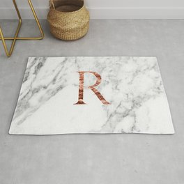 Monogram rose gold marble R Rug