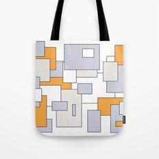 Squares - orange, gray and white. Tote Bag