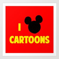 cartoons Art Prints featuring I heart Cartoons by ihearteverything
