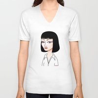 mia wallace V-neck T-shirts featuring Mia Wallace by Pendientera
