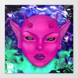Demon Babe Head Canvas Print