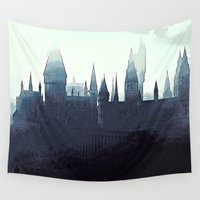 slytherin Wall Tapestries featuring Harry Potter - Hogwarts by Juniper Vinetree