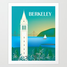 Berkeley, California - Skyline Illustration by Loose Petals Art Print