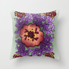 Pomegranate Poppies Throw Pillow