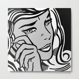 Crying-Girl02 B&W Metal Print