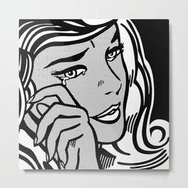 Crying-Girl02 B&W Metal Print