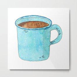 Blue Enamel Coffee Mug Metal Print