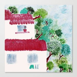 Village houses in the woods watercolor Canvas Print