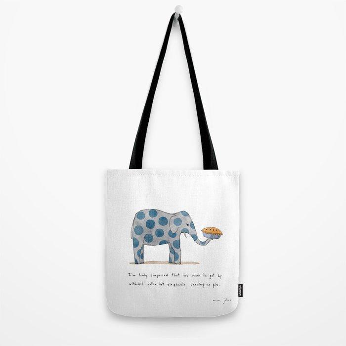 polka dot elephants serving us pie Tote Bag