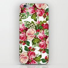 Chic vintage red pink roses botanical flowers pattern iPhone & iPod Skin